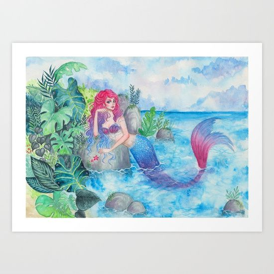"""Mermaid Lagoon"" by ARiA Illustration print on Society6"