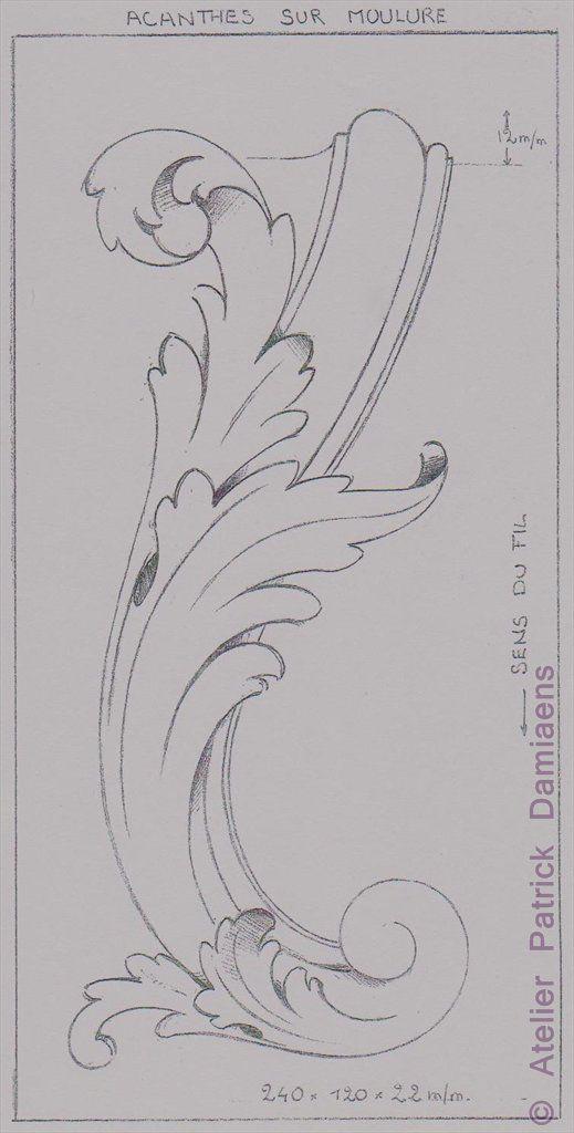 Sculpture Ornementale PATRICK DAMIAENS: LA FEUILLE D'ACANTHE   MOTIFS ORNEMENTAUX   Des motifs sculpture ornementale sur bois   L'Acanthe un motif ornemental