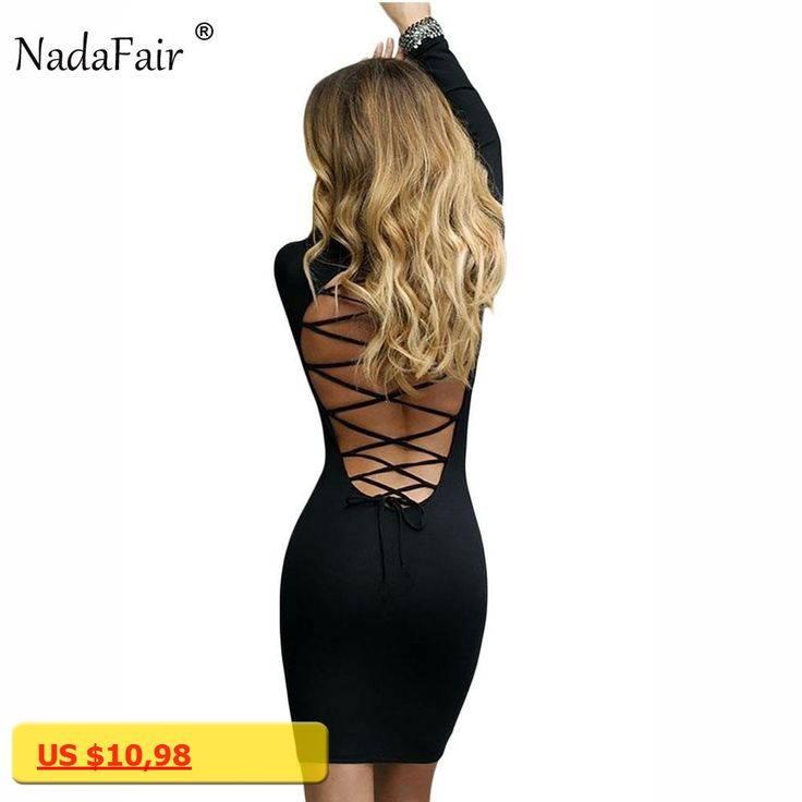 Nadafair Long Sleeve Stretchy Sexy Club Bandage Bodycon Dress 2017 Women Black Red Lace Up Backless Party Dresses