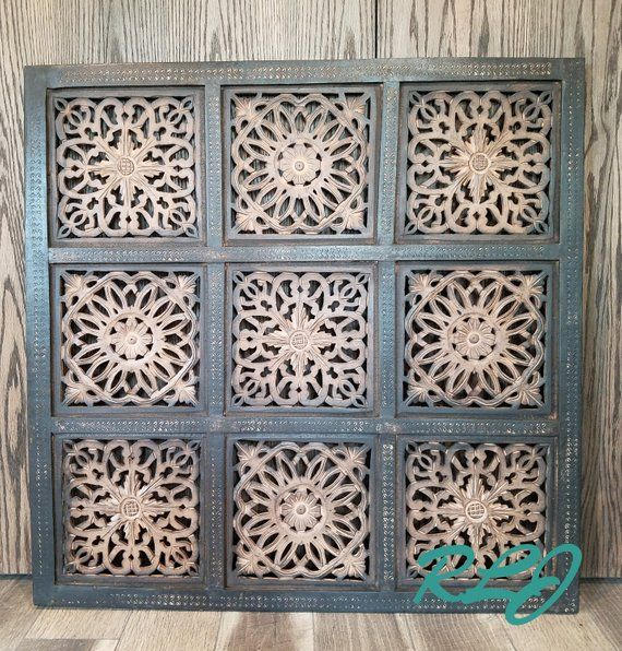 Distressed Rustic Moroccan Carved Wood Bohemian Wall Art Decor Panel Plaque Carved Wood Wall Art Bohemian Wall Art Bohemian Wall Decor