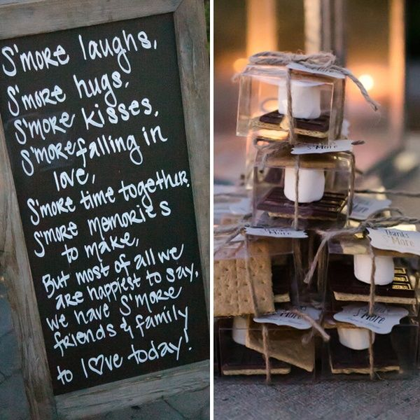 what a sweet idea for smores favors! a great sign to go with, and thanks smore tags attached.  Read more about this DIY and more from this vintage country chic wedding from intertwined events | britt rene photo