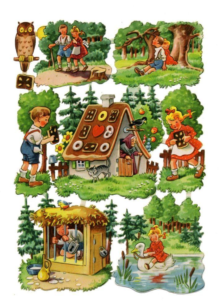 Alte Stammbuchbilder Glanzbilder Scraps Bogen 1114 Hänsel und Gretel DDR Rar!