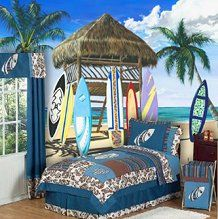 Blue and Brown Surf twin bedding collection by JoJo Designs will transform your room into a tropical Hawaiian paradise.