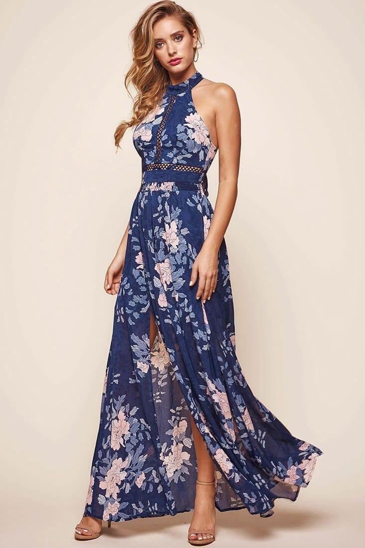1223f0eb3 Shop the Baylor Floral Halterneck Maxi Dress Navy