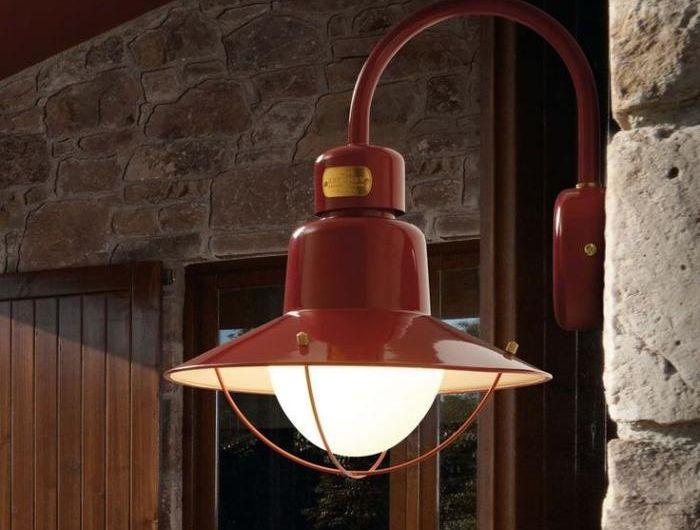 appliques-extérieures-lampe-cage-rouge-éclairage-industriel