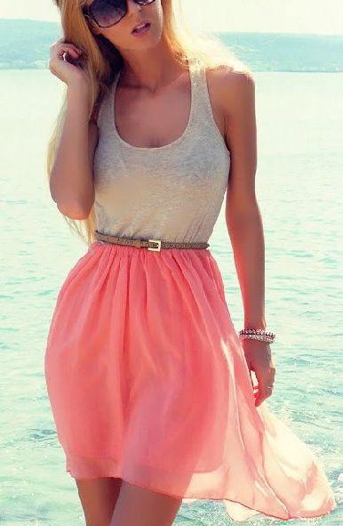 Summer dress white-pink