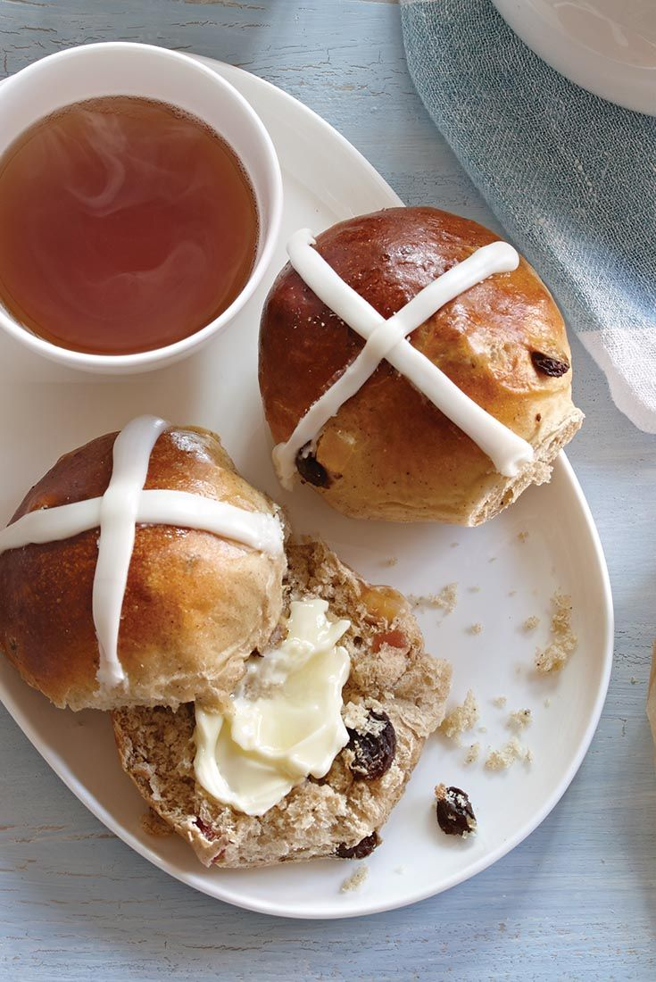 Easy Hot Cross Buns Recipe...This soft dough is easily shaped, and makes tender, aromatic buns, ready for an icing cross on top.