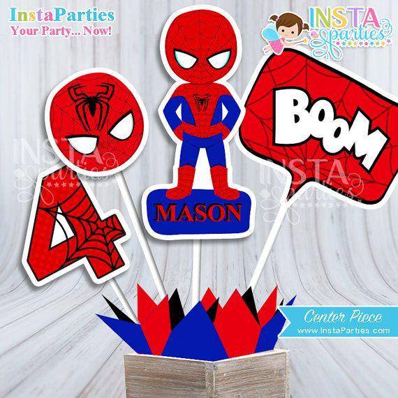 Spiderman Centerpiece , Spider Superhero boy center piece, super hero boy centerpieces decorations Birthday Party digital supplies man