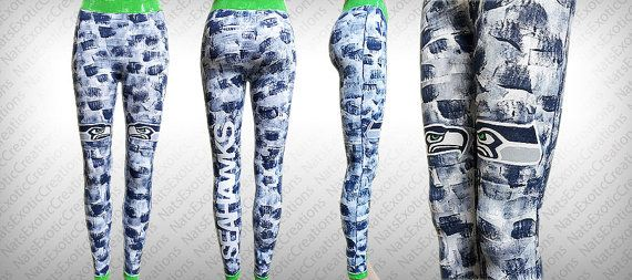 White Seamless Long Leggings,Custom Hand Painted SEATTLE SEAHAWKS Leggings/Tights,Art Clothing,Custom Painted SeaHawks Gear,SeaHawks Apparel