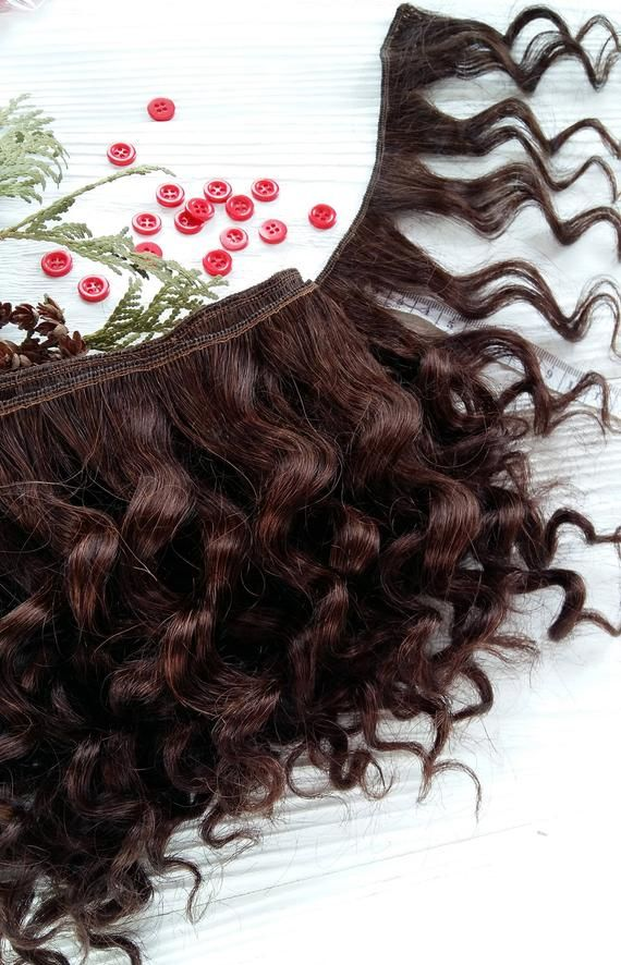 coarse mohair weft curly brown, doll hair, doll making