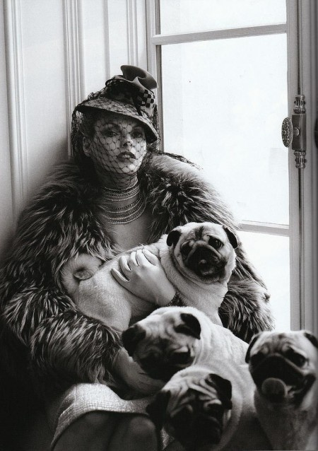 Linda Evangelista and pugs....