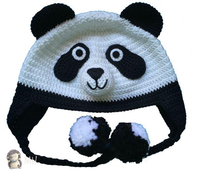 Gorro panda a crochet