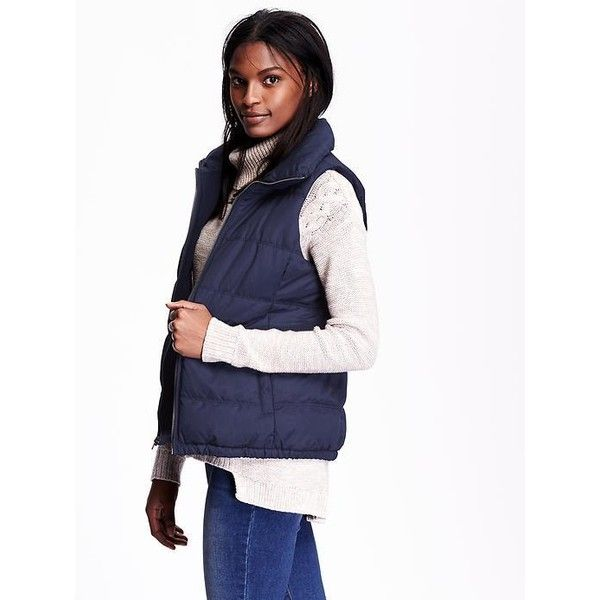 Old Navy Womens Quilted Fleece Lined Vest ($30) ❤ liked on Polyvore featuring outerwear, vests, blue, old navy, mock turtleneck, vest waistcoat, mock turtleneck tops and pocket vest