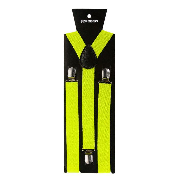 Hosenträger Unisex verstellbar Y -Form - neon gelb in Bekleidung Accessoire  • Hosenträger