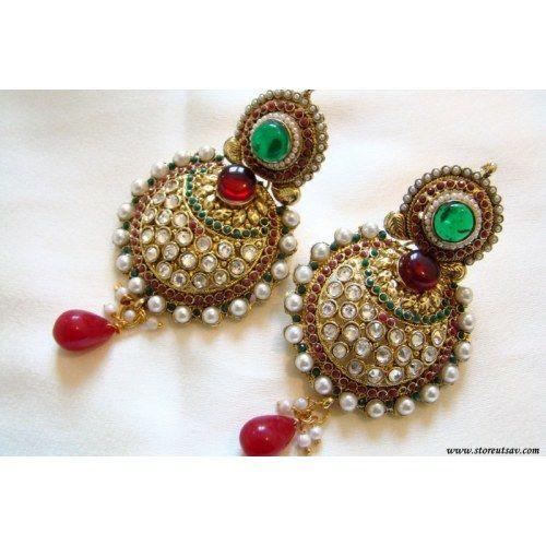 Polki Earrings Maroon & Green Rajasthani - Kundan Polki Jewellery - Earrings by Store Utsav