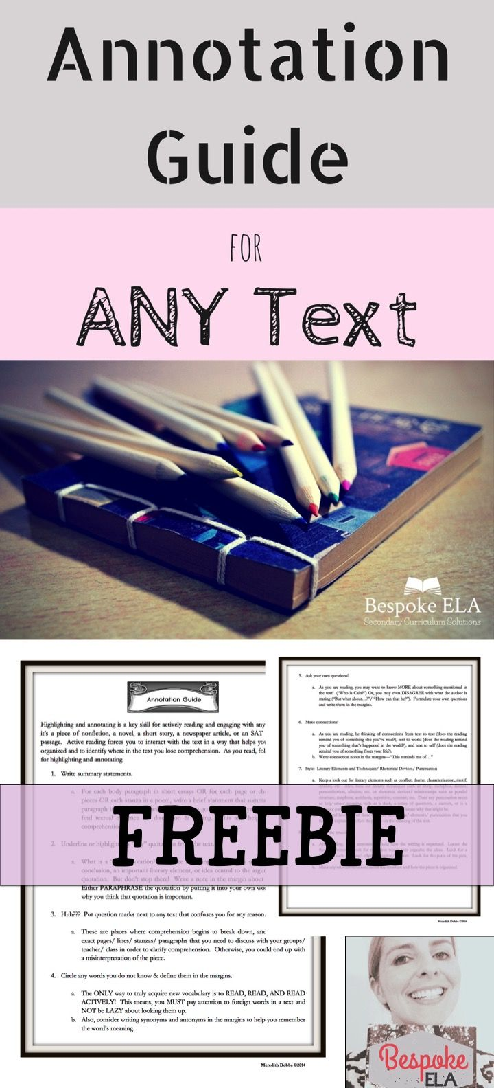 This guide instructs students on what to highlight and annotate for active reading. It includes making summary annotations, circling unfamiliar vocabulary terms, highlighting/ underlining key quotations, and making text-to-text/ text-to-word/ text-to-self connections. Highlighting and annotating is a key skill for truly interacting with any text, and this guide is a great resource for your students to use as they practice this skill.  Middle School and High School English Language Arts