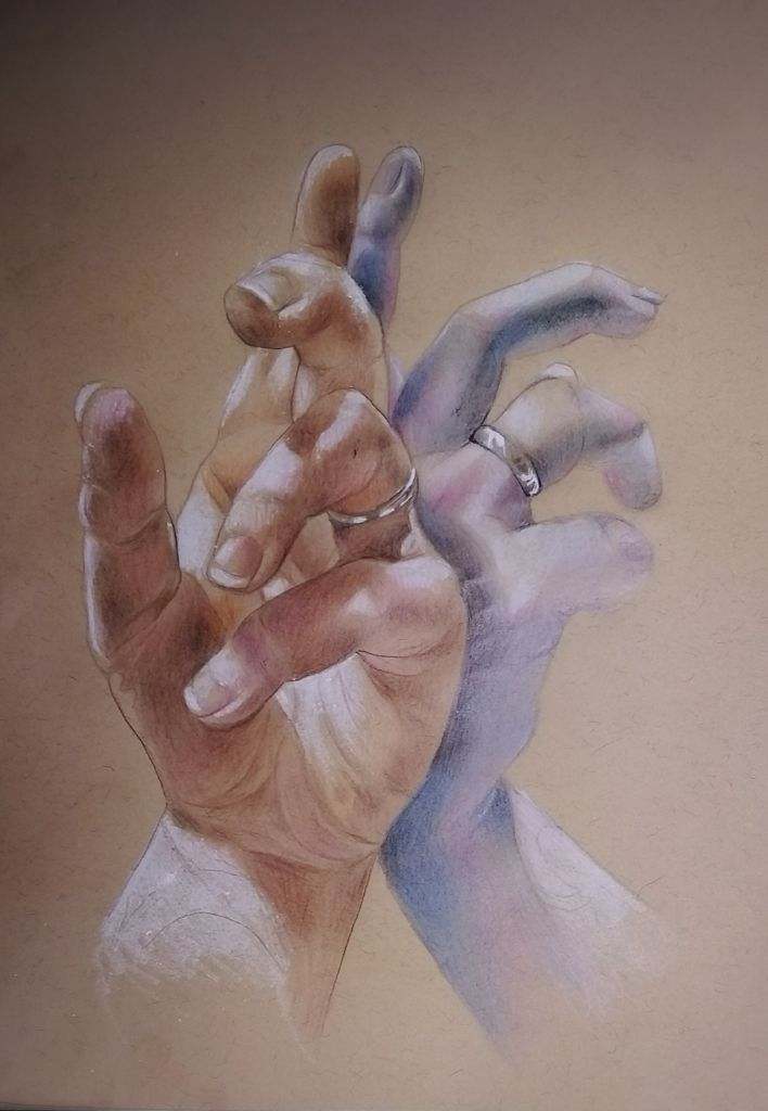 Reflections by Di Paterson, coloured pencil, paper, (2016) hand, silver ring, mirror, drawing, Www.facebook.com/Artfulfox1