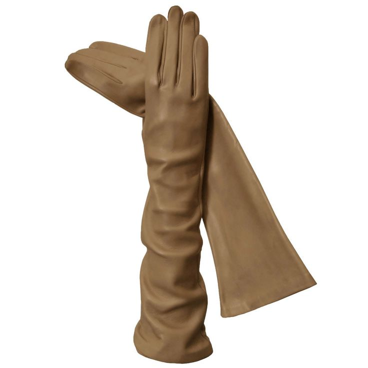 Long Camel Exotic Silk-lined Luxurious 8-button Italian Leather Gloves
