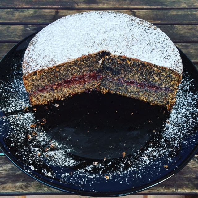 Poppy seed cake with homemade plum jam