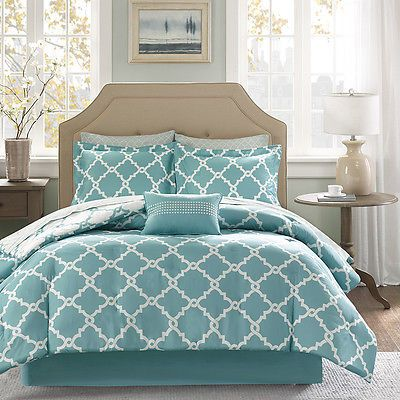 BEAUTIFUL MODERN REVERSIBLE TEAL BLUE AQUA BED IN A BAG COMFORTER SET & SHEETS