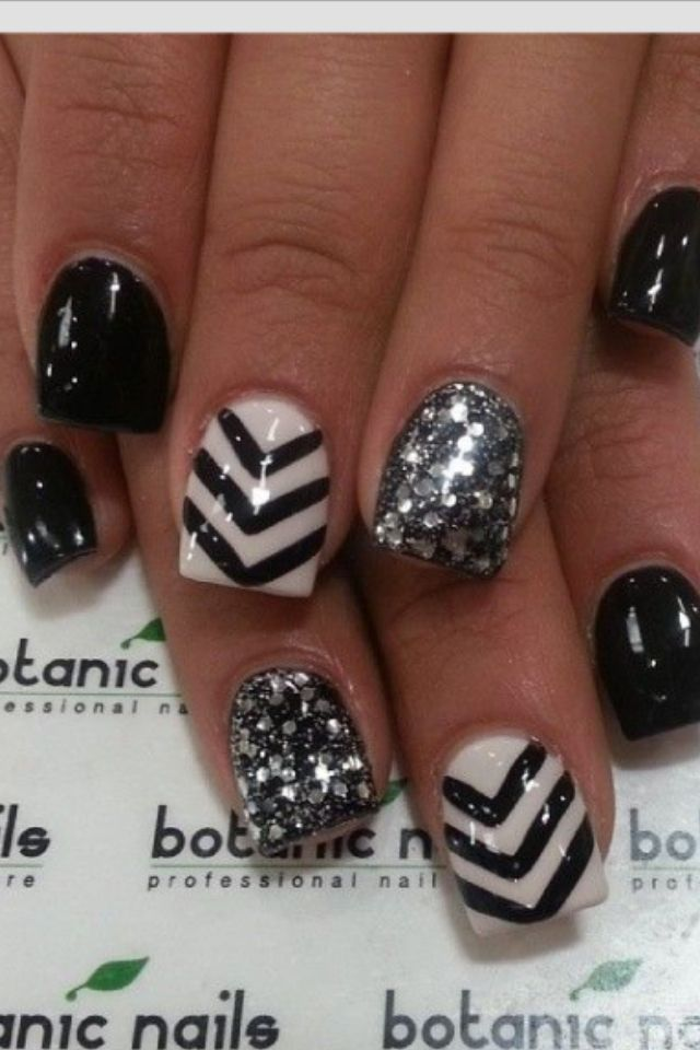 Looking for some elegant and stunning black and white nail designs? We've  32 of the best nail designs that can be achieved with black and white nail  polish - Best 20+ Black Glitter Nails Ideas On Pinterest Black Nails