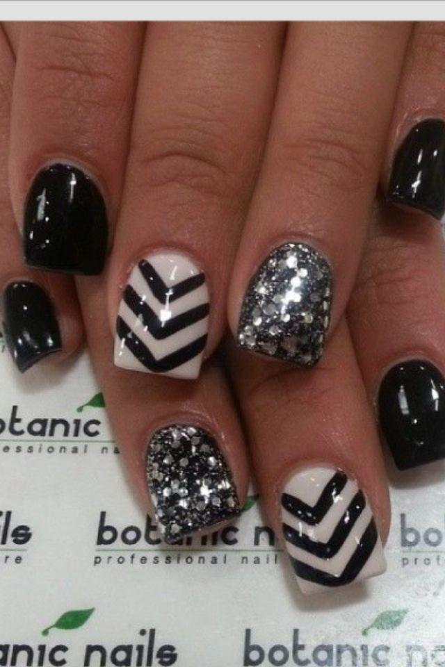 Black gray white and glittery