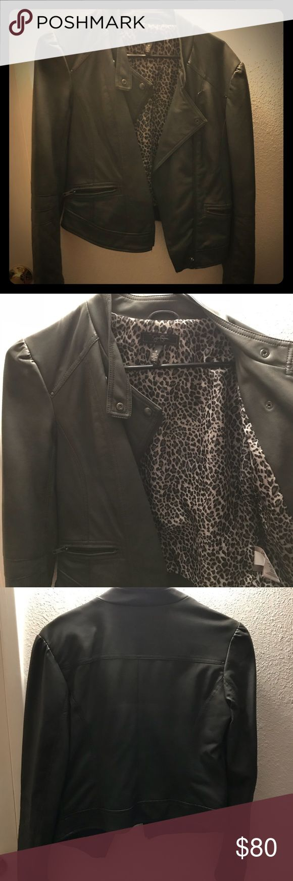 📍🎉PRICE DROP🎉Jessica Simpson Leather Jacket Jessica Simpson authentic leather jacket. Brand new never been worn. Adorable  cheetah pattern inside. You cannot beat this deal for this jacket!! Jessica Simpson Jackets & Coats