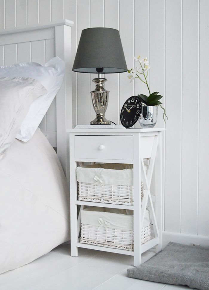 White Bedside Table With 3 Drawers In 2020 White Bedside Table