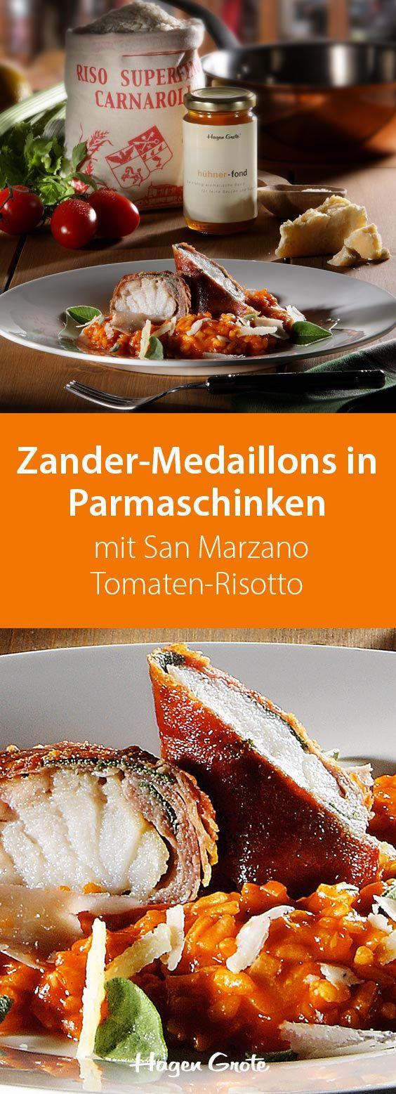 Zander-Medaillons in Parmaschinken mit San Marzano Tomaten-Risotto