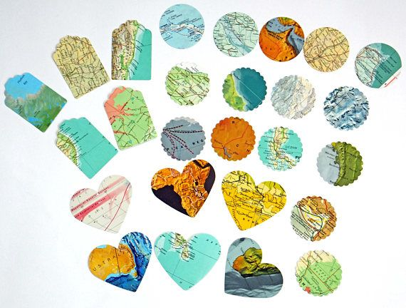 Vintage Map Scrap Pack Lucky dip 26 map shapes map pieces