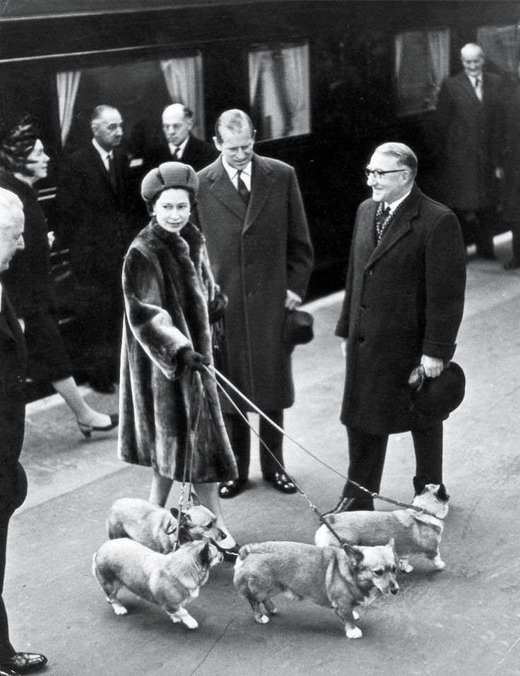 vanityfair: Queen Elizabeth and the Duke of Edinburgh with the corgis, Liverpool Street Station, London, 1968