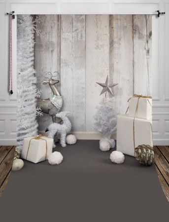 Luxe Silver Christmas Winter Photography Studio Backdrop with Gray Floor