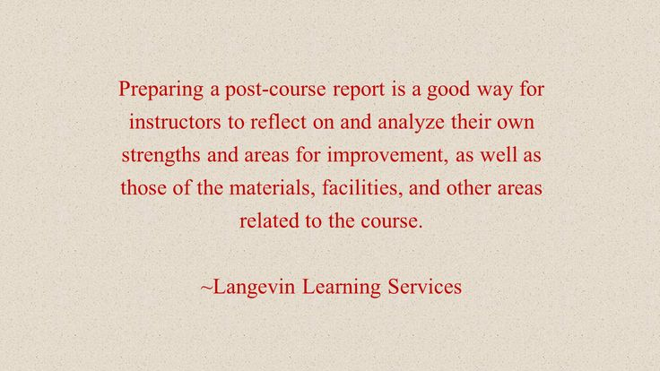 benefit of a post-course report
