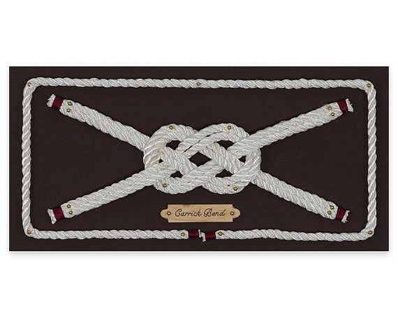 Handcrafted Nautical Decor-Carrick Bend/decorative knots/rope wall art/knot tying art/handmade gifts/nautical nursery/home decor/art on wood