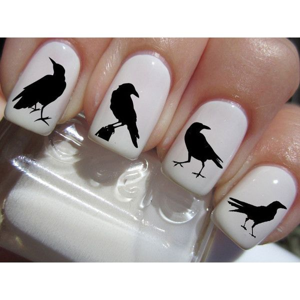 41 Nail Decals - Black RAVENS / CROW Familiar Symbols Nail Art Water Slide Transfers BIRDS Nail Stickers Wraps ($4.96) found on Polyvore