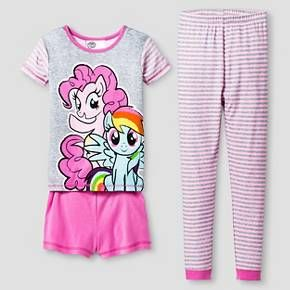 She'll be as cute as she is comfy in this Pajama Set from My Little Pony. The three-piece set comes with a colorful sleep shirt with My Little Pony friends, bright pink sleep shorts and pink and gray striped pajama pants. She'll love the sparkly accents, and getting ready for bed will be a breeze with the elastic waistbands.