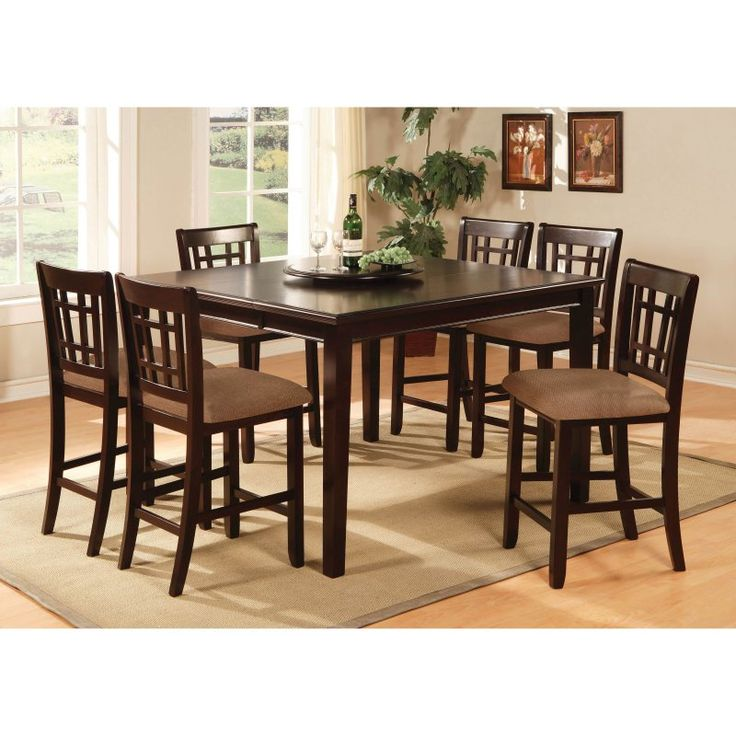 Counter Height Table Sets, Counter Chair, Wood Counter, Dining Room Table  Sets, Dining Rooms, Lazy Susan, Contemporary Style, Central Park, Pc