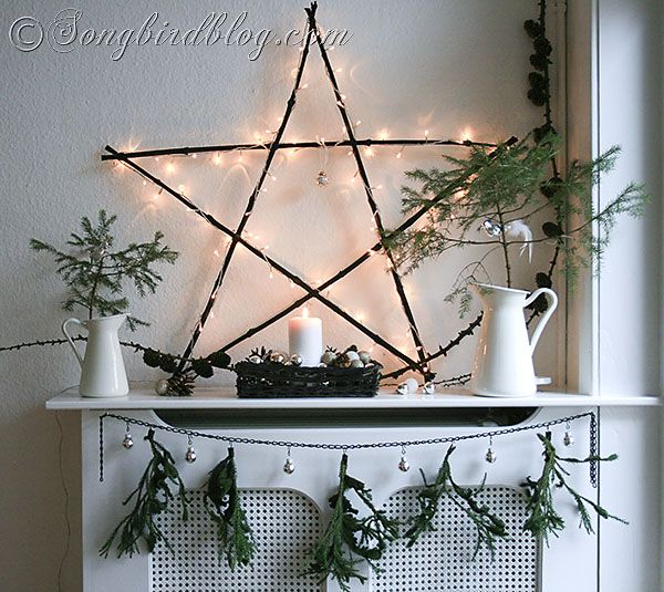 natural and rustic Christmas mantel display with woodland elements http://www.songbirdblog.com