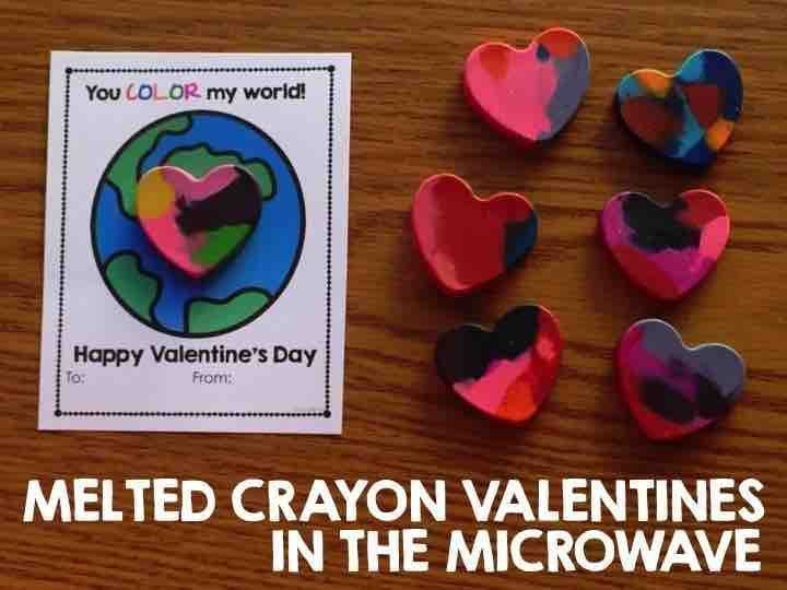Microwave Melted Crayon Valentines Valentines Melting
