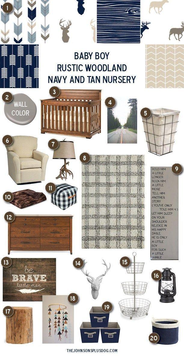 Baby Boy Nursery Inspiration | Rustic Woodland Navy and Tan Baby Room | Baby Boy Rustic Woodland Nursery Inspiration
