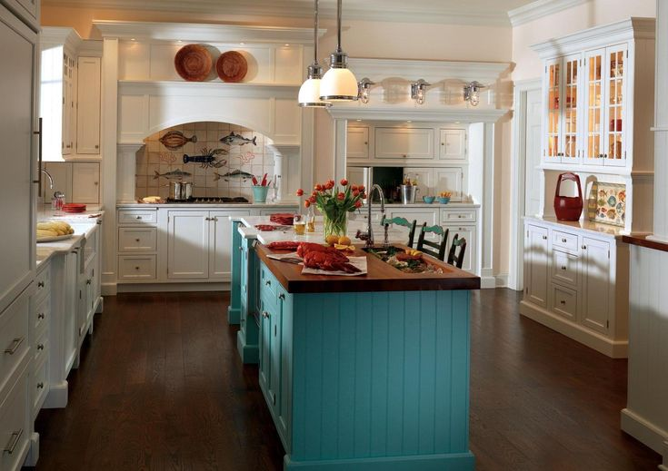 Contemporary Vintage Style Kitchen Design With Blue Kitchen Island