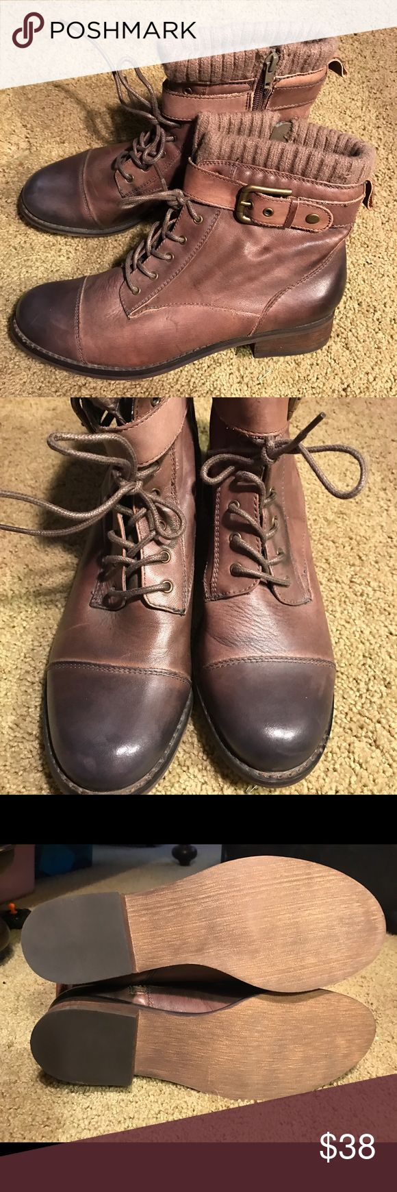 Cute ankle boots Brown leather lace ups with buckles on the side.... never worn. Arturo Chiang Shoes Ankle Boots & Booties