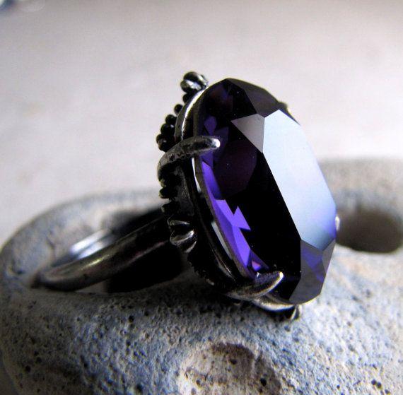 Victorian Gothic Ring Black Grape Swarovski Crystal. $28.50, via Etsy.