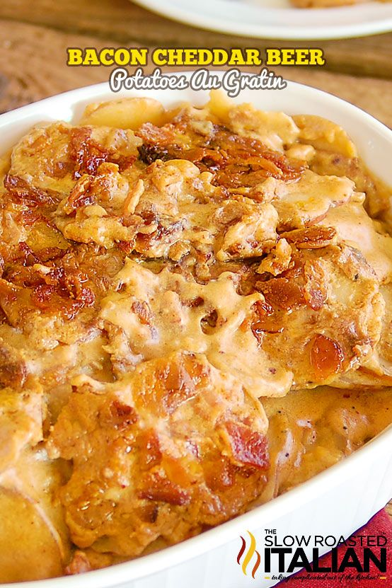 Bacon Cheddar Beer Potatoes Au Gratin Recipe ~ These potatoes are rich, creamy, tender, bacony, cheesy and boast a lovely flavor from the beer.
