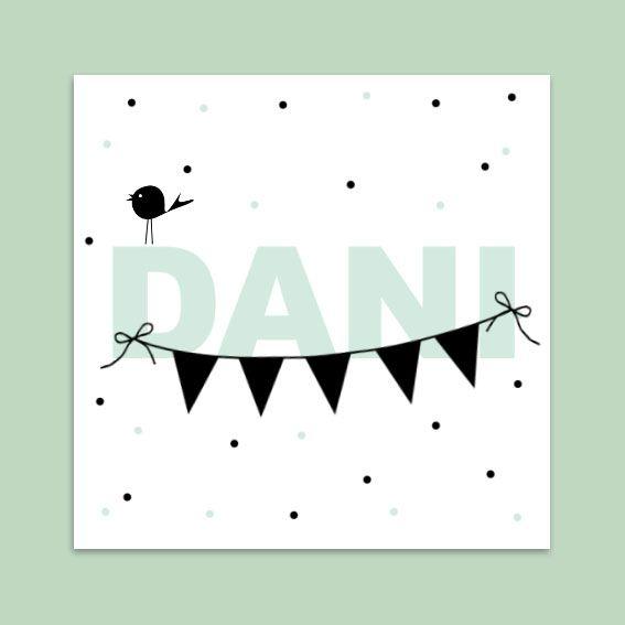 Geboortekaartje | jongen met confetti en vlaggetjes