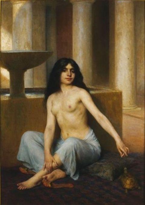 Orientale à la tortue, aux bains Gaston Casimir Saint-Pierre , French, 1833-1916