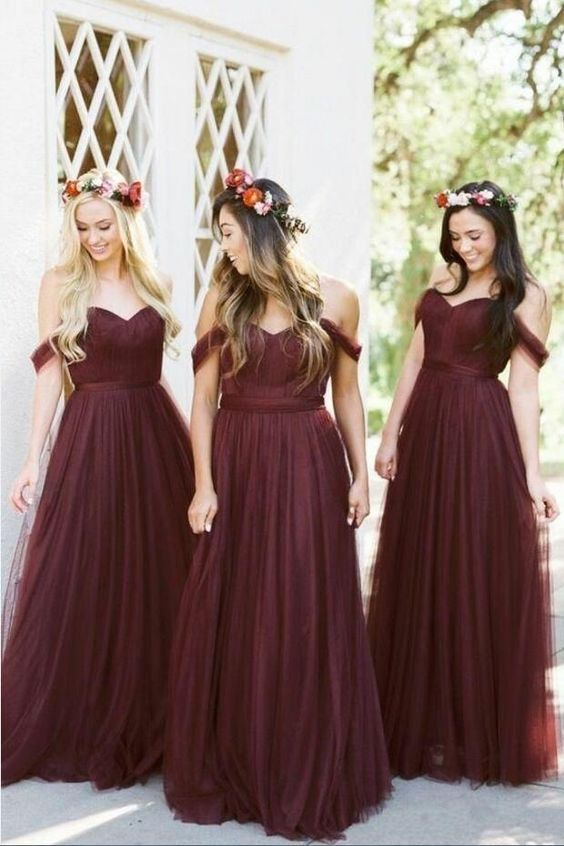 2198ee37b2e46a A-line Tulle Off-the-shoulder Wine Bridesmaid Dresses Long in 2019 | Wedding  ideas | Bridesmaid dresses 2018, Bridesmaid dresses, Wine bridesmaid dresses