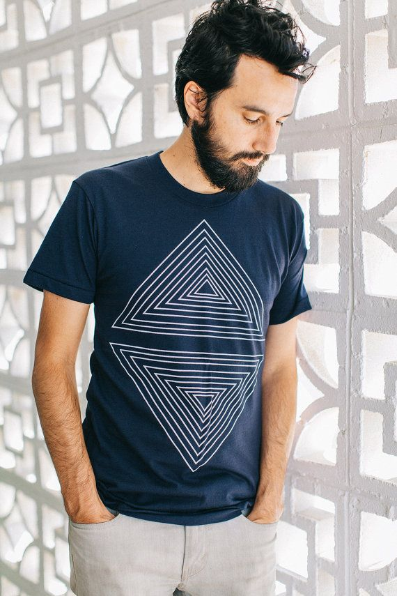 Mens graphic tee | tshirt for men - geometric triangle print on navy blue - fathers day | for dad - Rule of Thirds