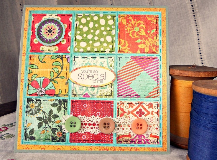 Patchwork Card uses paper from Basic Grey's Indie Bloom Collection. Like the stitching detail!
