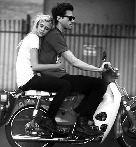 couple  love  cute  boy  motorcycle  black and white  cuddle
